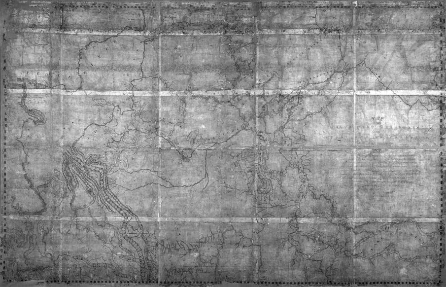 """Map of the North West Territory of the Province of Canada,"" Archives of Ontario. Thompson's Great Map was commissioned upon his retirement from the fur trade in 1812 and hung in the Great Hall at Fort William. His most masterful and expansive work of cartography, 2.13 metres high x 3.30 metres wide, it depicts the West from Hudson Bay to the Pacific and from the Athabasca to the Missouri."