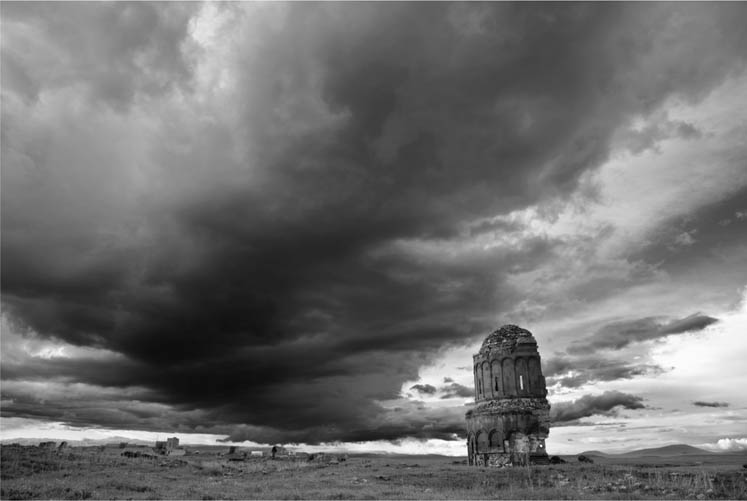 The remains of the Church of the Holy Redeemer (built about 1035) in Ani, a ruined Armenian city in the eastern Turkish province of Kars.