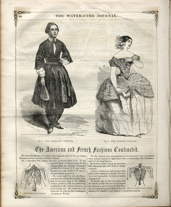 """The American and French Fashions Contrasted"", from the Water-Cure Journal of October 1851"