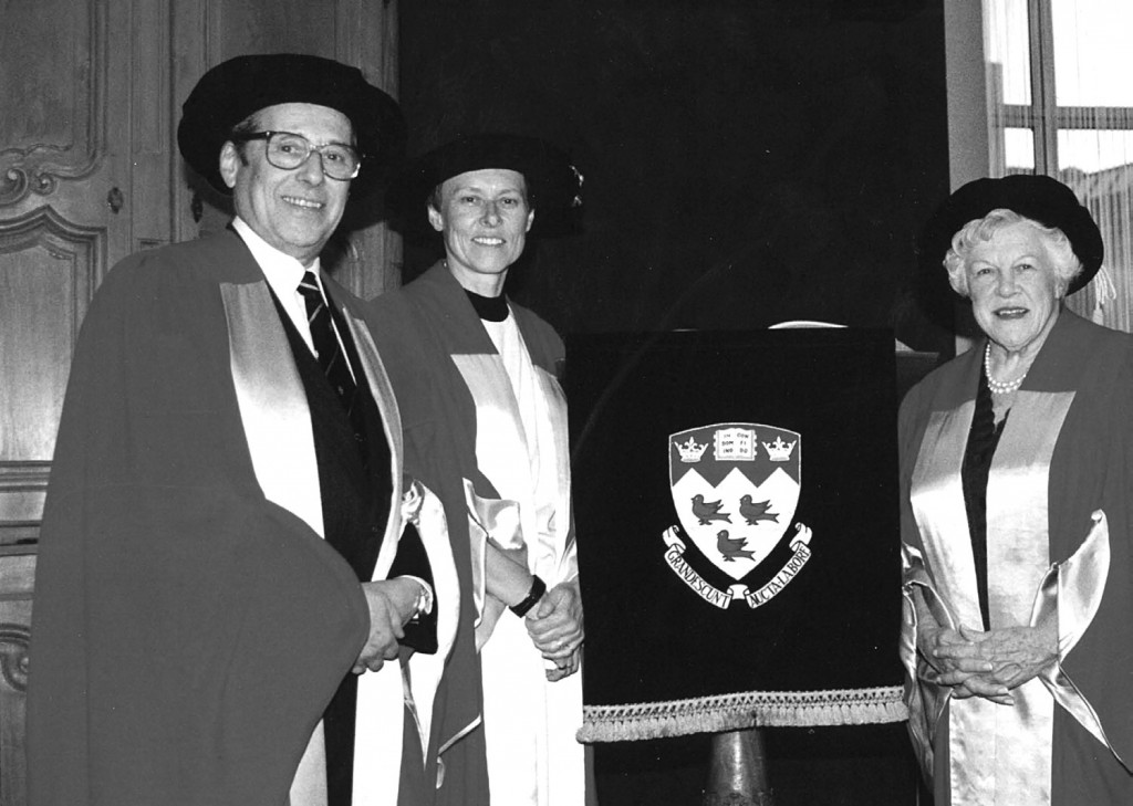 Receiving an honorary degree from McGill University in 1992, with Canadian astronaut Roberta Bondar, and Barbara Whitley, a long-time stalwart of Montreal's English language cultural scene.