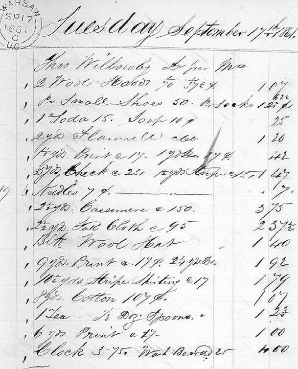 Purchases by Mrs Thomas Willoughby at Choate's store, 17 September 1861. An exceptionally large textile order, this list includes twelve pieces of eight different fabrics, totaling almost fifty-two yards and costing $15.00; although most were cotton, the seven yards of woolens (cassimere [cashmere], flannel, and home-made cloth) represented almost half of this value.