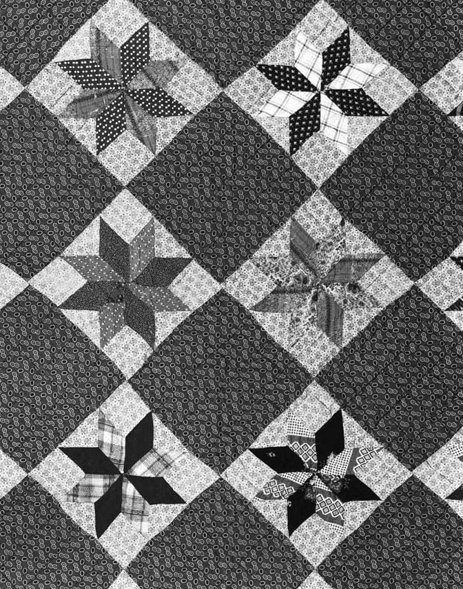Pieced quilt, made at Penetanguishene, Upper Canada, ca 1850-60 (detail). Few everyday textiles survive from Upper Canada, but a quilt such as this can suggest the substantial variety of fabrics available to rural women.