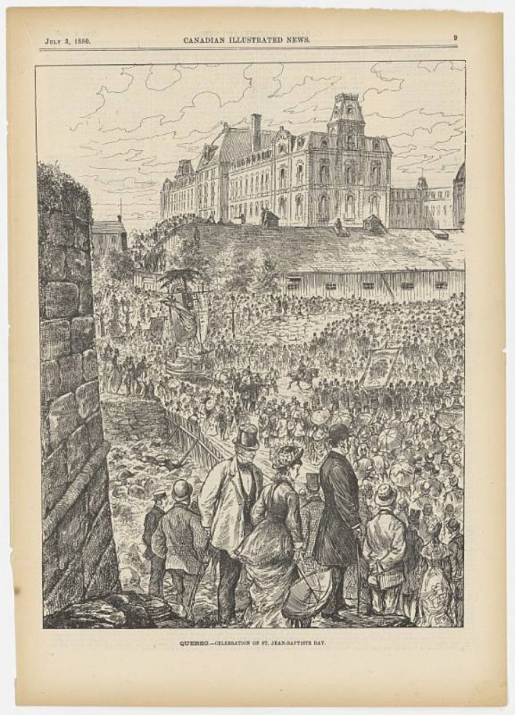 An engraving of St-Jean-Baptiste crowds, Quebec City, 1880 (Canadian Illustrated News, 3 July 1880)
