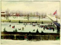 Victoria Skating Rink, Toronto, 1863. Note the children climbing the fence to get a view of the action.